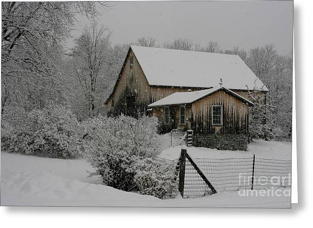 Barn In Woods Photographs Greeting Cards - Old Barn in Snow Greeting Card by Barbara Bardzik