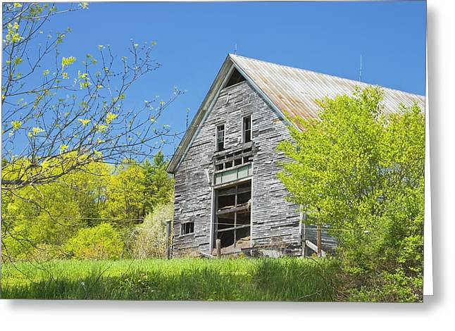 Old Maine Barns Greeting Cards - Old Barn In Spring Maine Greeting Card by Keith Webber Jr
