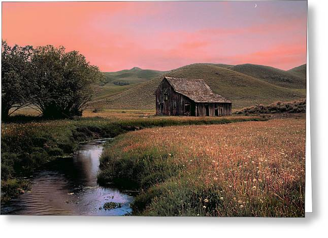 Old Barn In The Pioneer Mountains Greeting Card by Leland D Howard