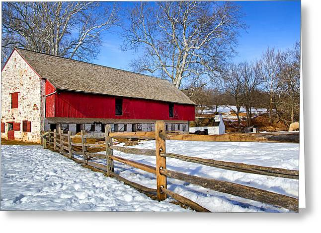 Historic Site Greeting Cards - Old Barn in Winter Greeting Card by Carolyn Derstine