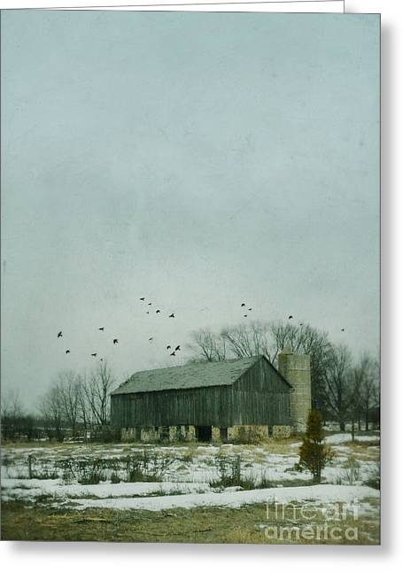Snow Scenes Greeting Cards - Old Barn in Winter Greeting Card by Jill Battaglia