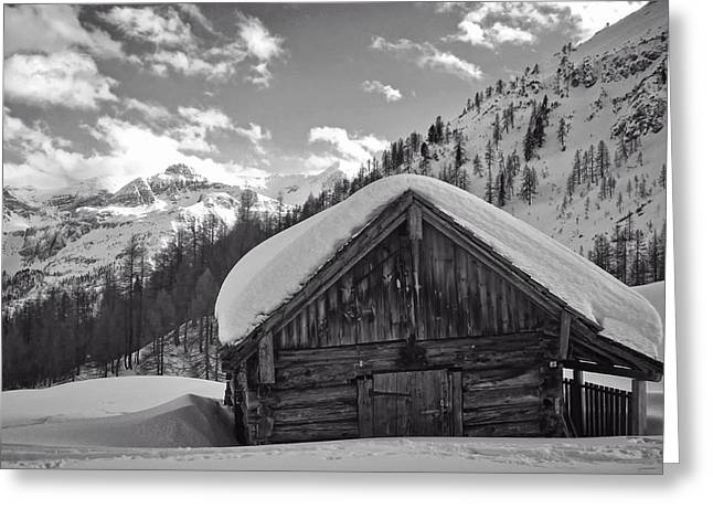 Wooden Shed Greeting Cards - Old Barn in Wintry Austria Greeting Card by Anja Osenberg