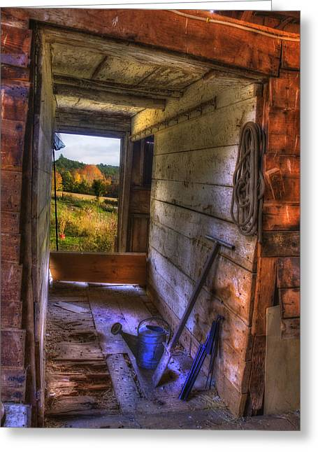 Old Barn Interior Greeting Card by Joann Vitali