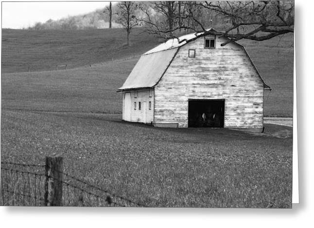 Black Greeting Cards - Old Barn  Greeting Card by Jerry Mann