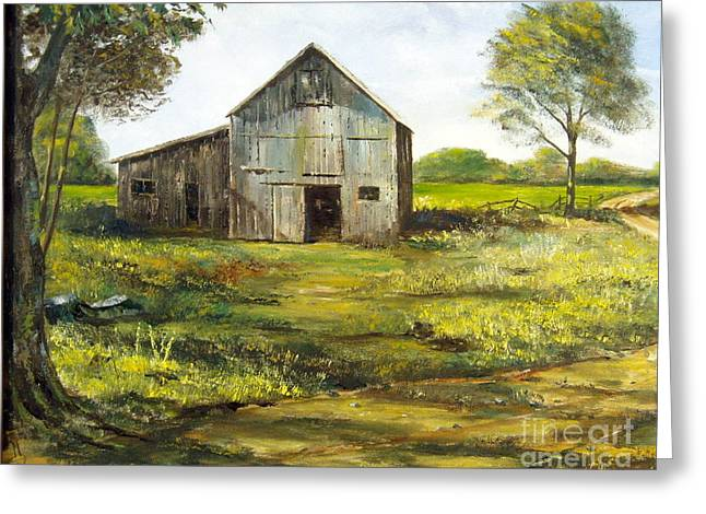 Rural Maine Roads Paintings Greeting Cards - Old Barn Greeting Card by Lee Piper