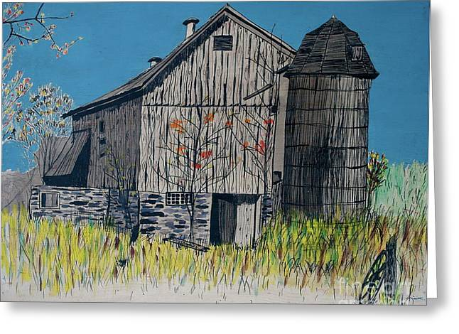 Old Barn Drawing Greeting Cards - Old Barn Greeting Card by Linda Simon