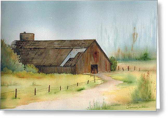 Gilroy Greeting Cards - Old Barn Near Gilroy Greeting Card by Janice Sobien