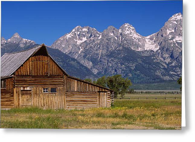 Old Barns Greeting Cards - Old Barn On A Landscape, Grand Teton Greeting Card by Panoramic Images