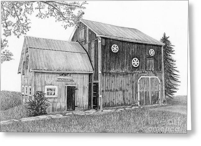 Old Barns Drawings Greeting Cards - Old Barn Greeting Card by Sarah Batalka