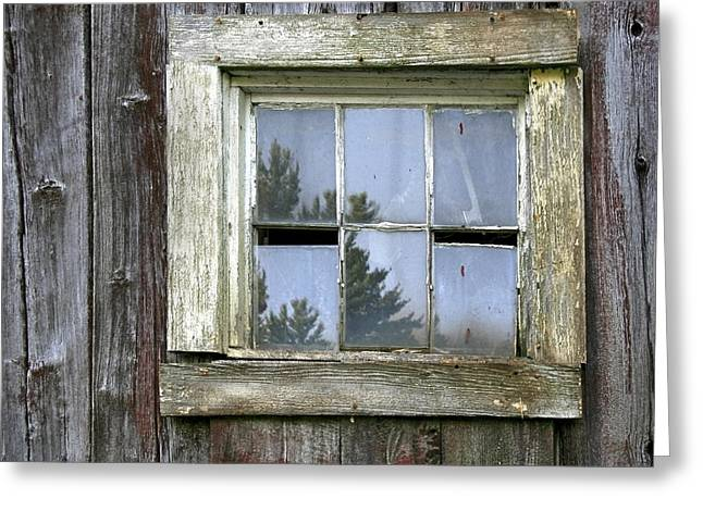 Old Maine Barns Greeting Cards - Old Barn Window Greeting Card by Paul Schreiber