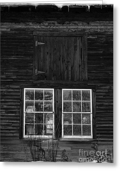 Wooden Structures Greeting Cards - Old Barn Windows Greeting Card by Edward Fielding