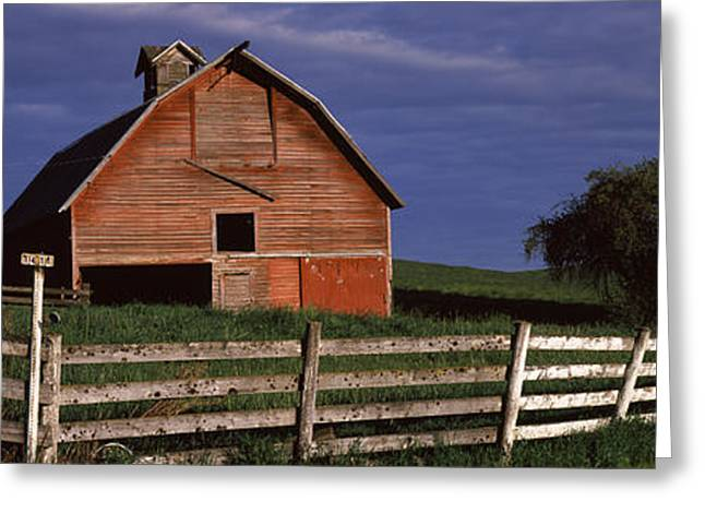 Farm Building Greeting Cards - Old Barn With A Fence In A Field Greeting Card by Panoramic Images
