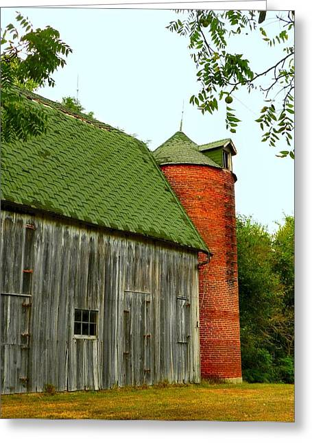 Julie Riker Dant ography Photographs Greeting Cards - Old Barn with Brick Silo II Greeting Card by Julie Dant