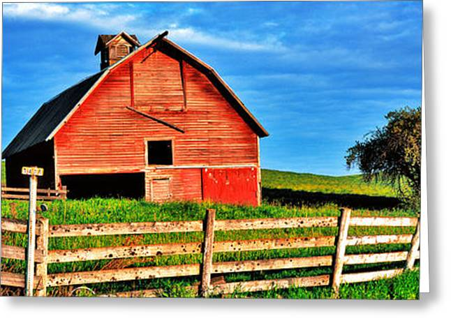 Old Barns Greeting Cards - Old Barn With Fence In A Field Greeting Card by Panoramic Images
