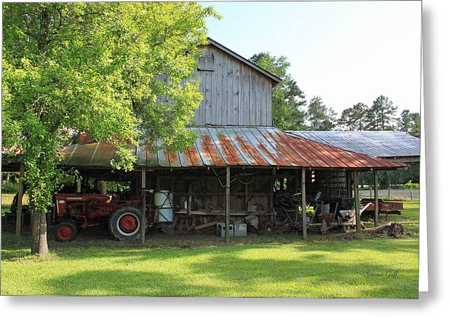 Red Roofed Barn Greeting Cards - Old Barn with Red Tractor Greeting Card by Suzanne Gaff