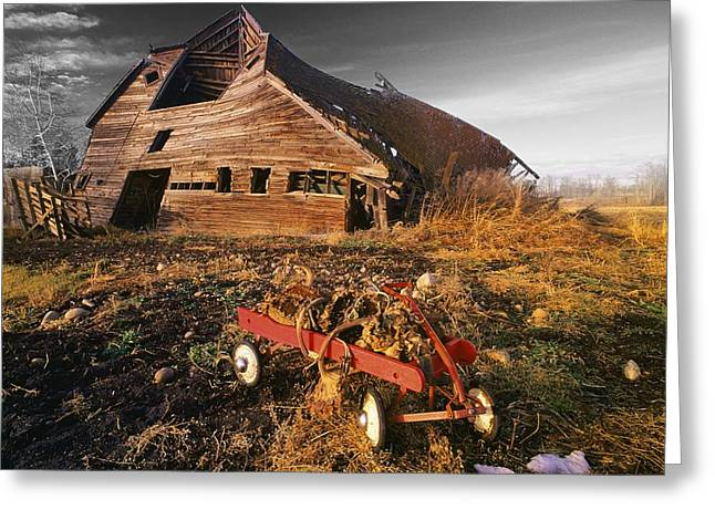 Abandonded Greeting Cards - Old Barn With Red Wagon Greeting Card by Bilderbuch