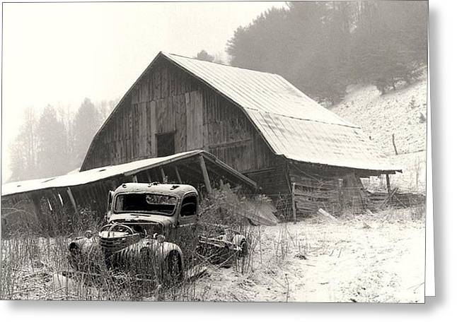 Canvas. Poster. Greeting Card. Christmas Card. Old Wagon. Vintage Wagon. Antiques. Woods. Trees. Forest. Path. Greeting Cards -    Old Barn With Truck Greeting Card by R A W M