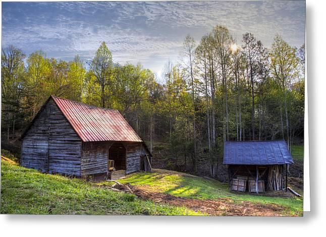 Old Barns Greeting Card by Debra and Dave Vanderlaan