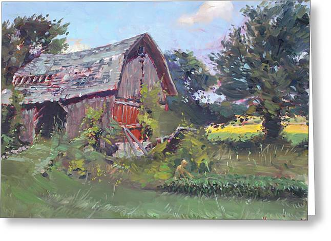 Grained Greeting Cards - Old Barns  Greeting Card by Ylli Haruni