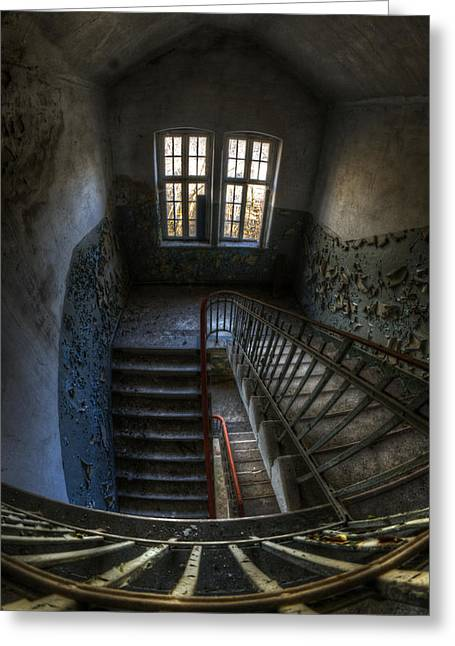 Sanitarium Greeting Cards - Old barracks stairs Greeting Card by Nathan Wright