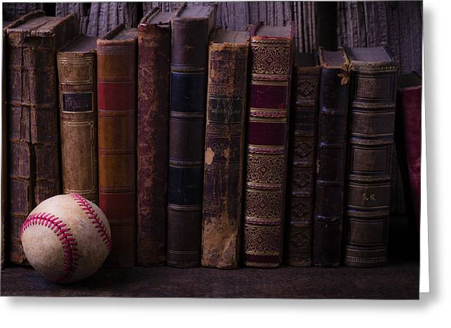 Rare Books Greeting Cards - Old Baseball And Books Greeting Card by Garry Gay