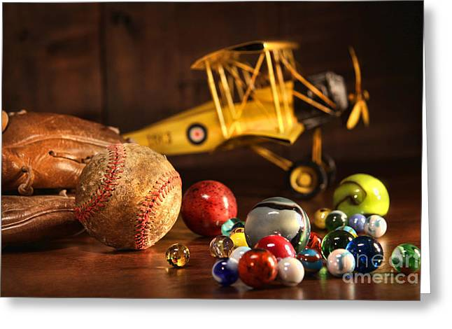Old baseball and glove with antique toys Greeting Card by Sandra Cunningham