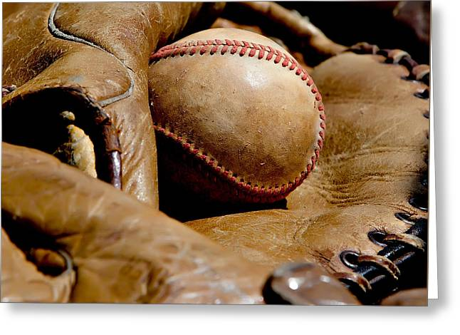 Baseball Art Photographs Greeting Cards - Old Baseball Ball and Gloves Greeting Card by Art Block Collections
