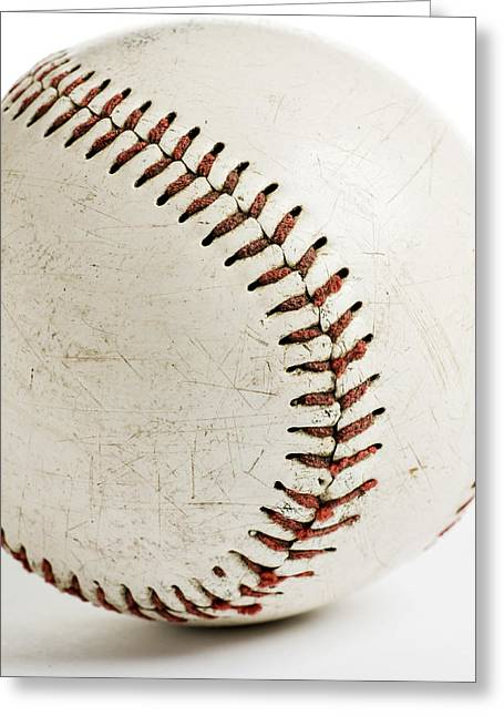Stitching On Ball Greeting Cards - Old Baseball Close Up Greeting Card by Donald  Erickson