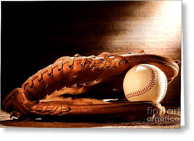 Softball Mitt Greeting Cards - Old Baseball Glove Greeting Card by Olivier Le Queinec