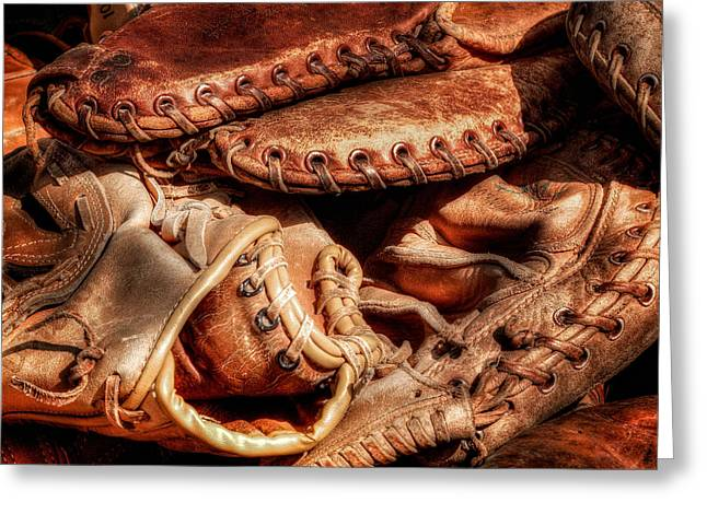 Old Baseball Gloves Greeting Card by Bill  Wakeley