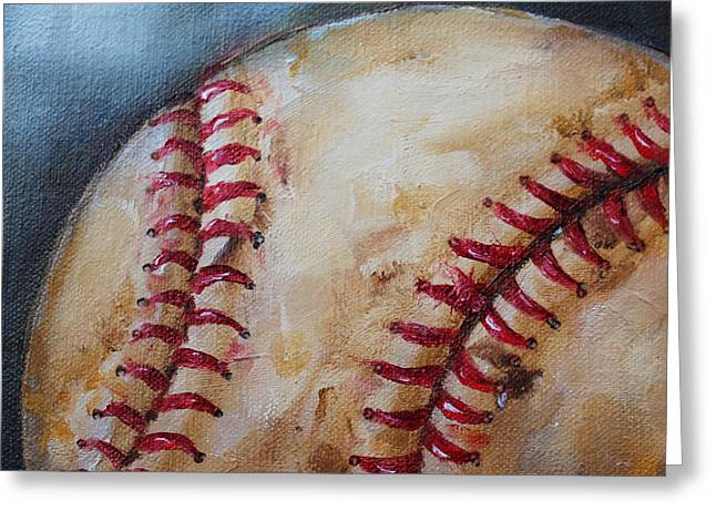 Red Sox Paintings Greeting Cards - Old Baseball Greeting Card by Kristine Kainer