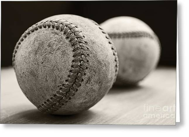Antique Equipment Greeting Cards - Old Baseballs Greeting Card by Edward Fielding