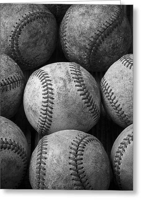 Rusty Nail Greeting Cards - Old Baseballs Greeting Card by Garry Gay