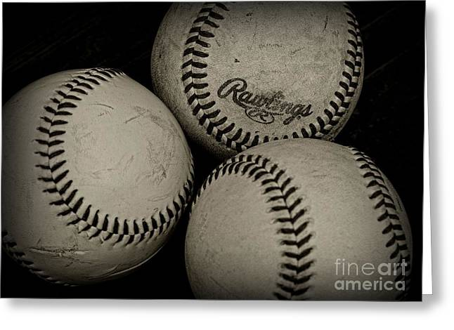 Minor League Greeting Cards - Old Baseballs Greeting Card by Paul Ward