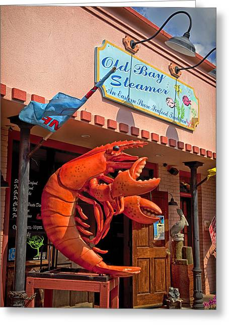 Lobster Sign Greeting Cards - Old Bay Steamer - Fairhope Alabama Greeting Card by Mountain Dreams