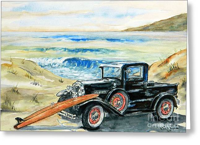 Classic Pickup Paintings Greeting Cards - Old Beach Buggy Greeting Card by William Reed