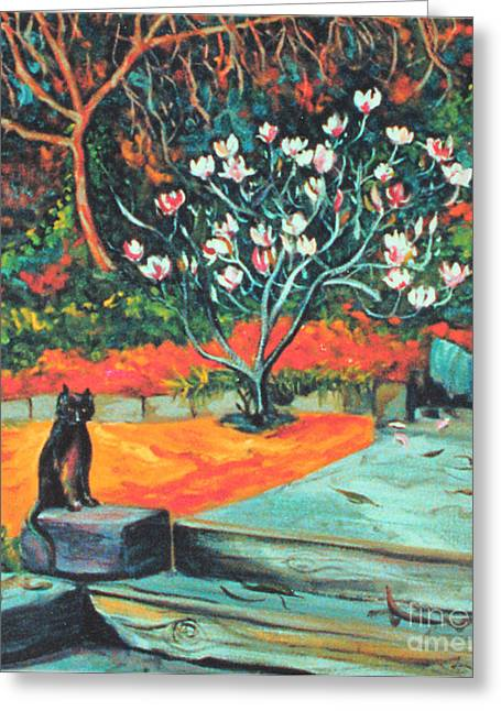 Black Cat Hills Greeting Cards - Old Bear Cat and Blooming Magnolia Tree Greeting Card by Asha Carolyn Young