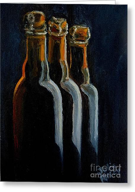 Bottle Cap Paintings Greeting Cards - Old Beer Bottles Greeting Card by Julie Brugh Riffey