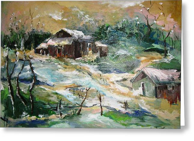 Babylon Paintings Greeting Cards - Old Bethpage Village Restoration Greeting Card by Mary Spyridon Thompson