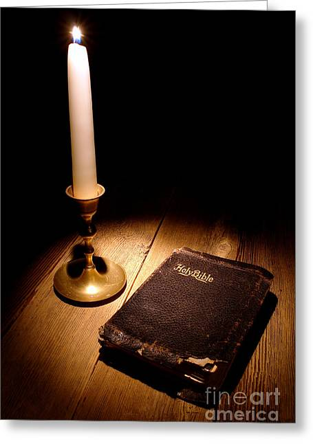 Sacred Greeting Cards - Old Bible and Candle Greeting Card by Olivier Le Queinec