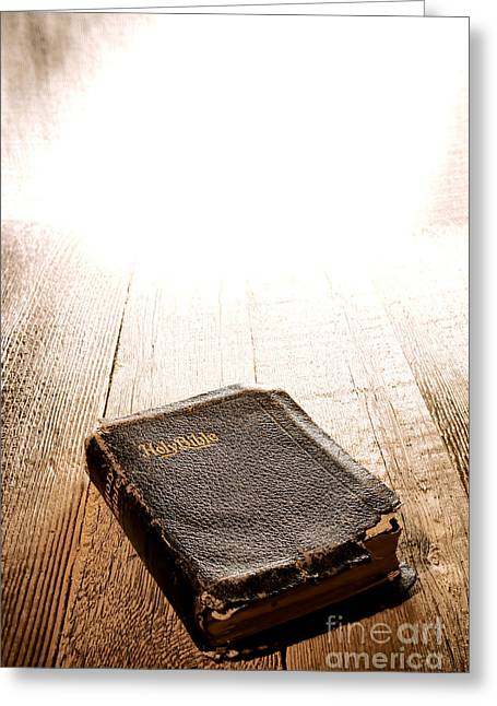 Divine Photographs Greeting Cards - Old Bible in Divine Light Greeting Card by Olivier Le Queinec