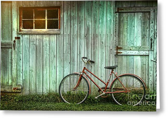 Old Bicycle Leaning Against Grungy Barn Greeting Card by Sandra Cunningham
