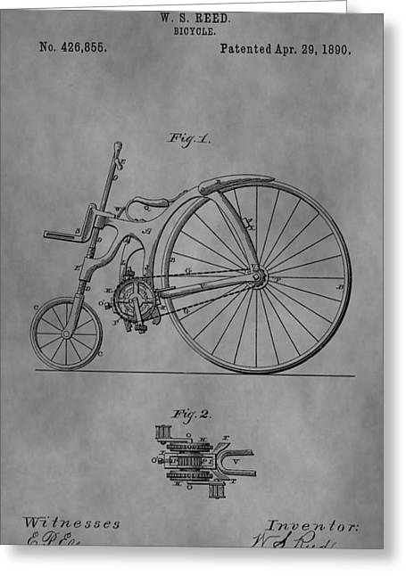 Cycle Mixed Media Greeting Cards - Old Bicycle Patent Greeting Card by Dan Sproul