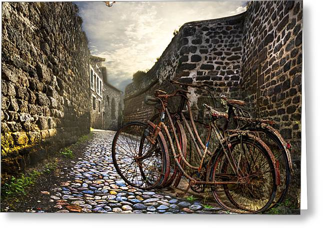 Stones Greeting Cards - Old Bicycles on a Sunday Morning Greeting Card by Debra and Dave Vanderlaan