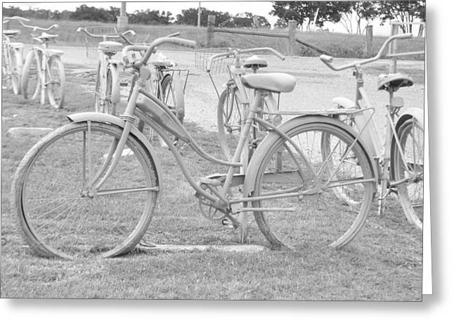 Bicycle Kick Greeting Cards - Old Bicycles Greeting Card by Vonda Barnett
