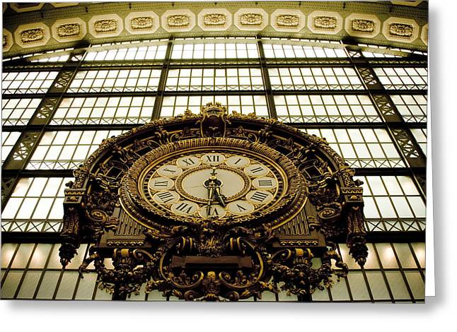 Large Clocks Greeting Cards - old big awsome clock from Museum dOrsay in Paris France Greeting Card by Raimond Klavins