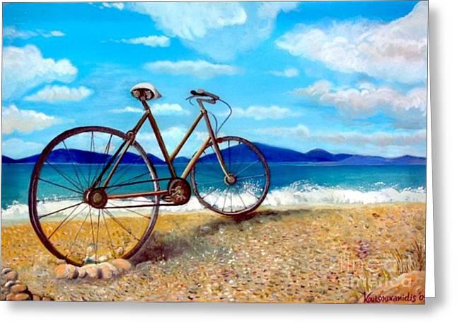 Kostas Koutsoukanidis Greeting Cards - Old bike at the beach Greeting Card by Kostas Koutsoukanidis