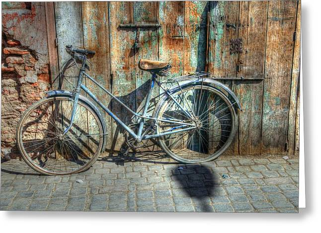 Old Street Greeting Cards - Old Bike Greeting Card by Sophie Vigneault