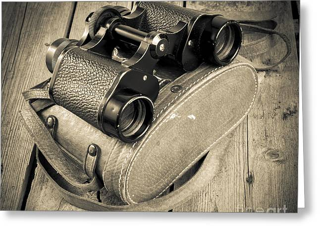 Straps Greeting Cards - Old Binoculars Filtered Greeting Card by Tim Hester