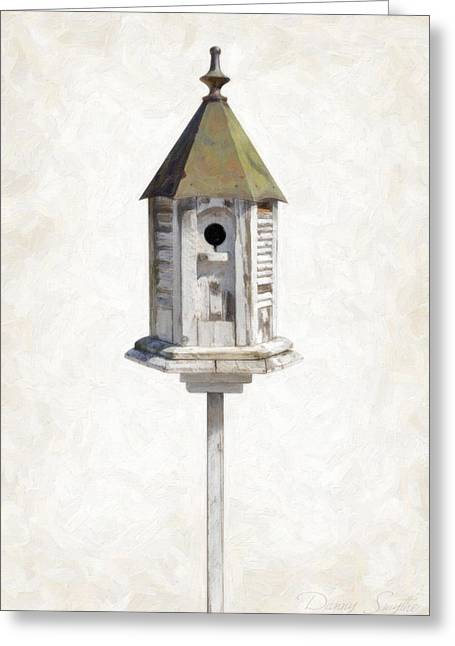 Dilapidated Paintings Greeting Cards - Old Birdhouse Greeting Card by Danny Smythe